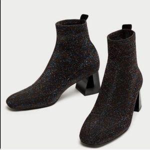 Zara Sparkly Glitter Rainbow Ankle Sock Boots